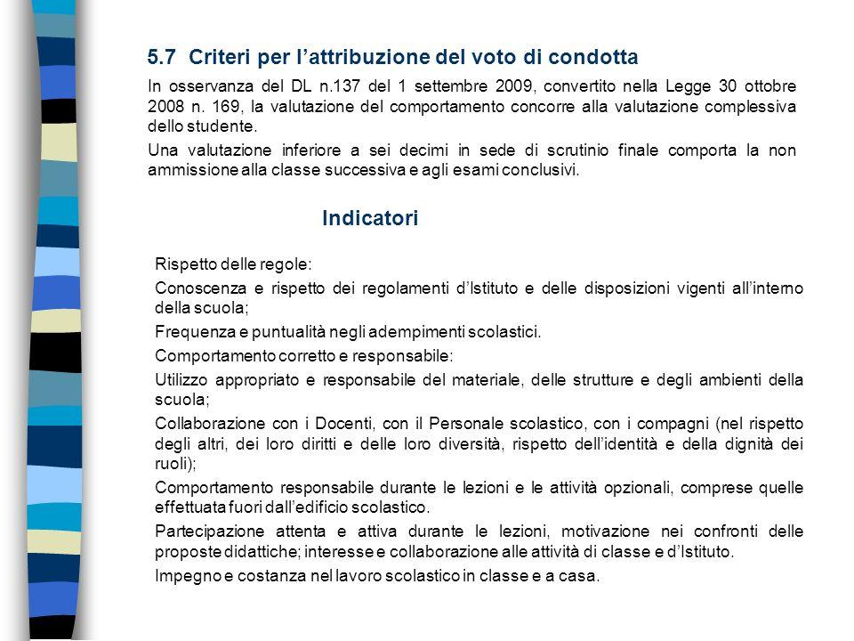 5.7 Criteri per l'attribuzione del voto di condotta