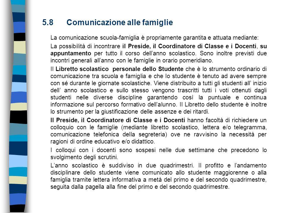 5.8 Comunicazione alle famiglie