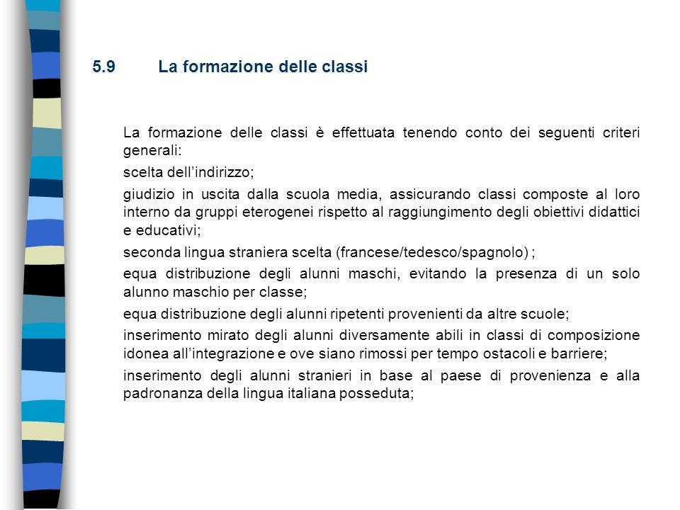 5.9 La formazione delle classi