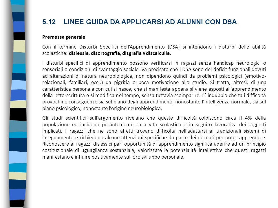 5.12 LINEE GUIDA DA APPLICARSI AD ALUNNI CON DSA