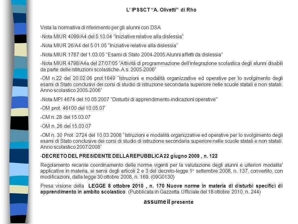 L' IPSSCT A. Olivetti di Rho