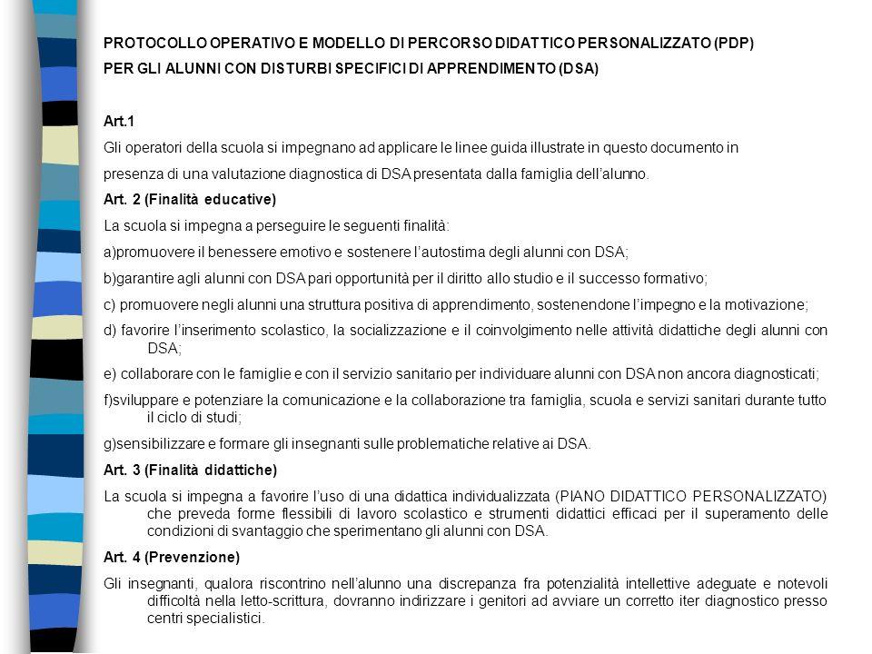 PROTOCOLLO OPERATIVO E MODELLO DI PERCORSO DIDATTICO PERSONALIZZATO (PDP)