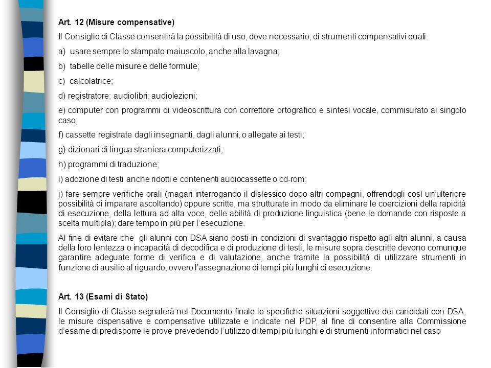 Art. 12 (Misure compensative)
