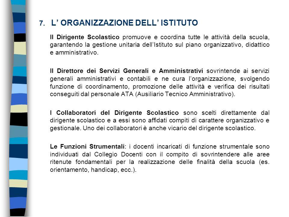 7. L' ORGANIZZAZIONE DELL' ISTITUTO
