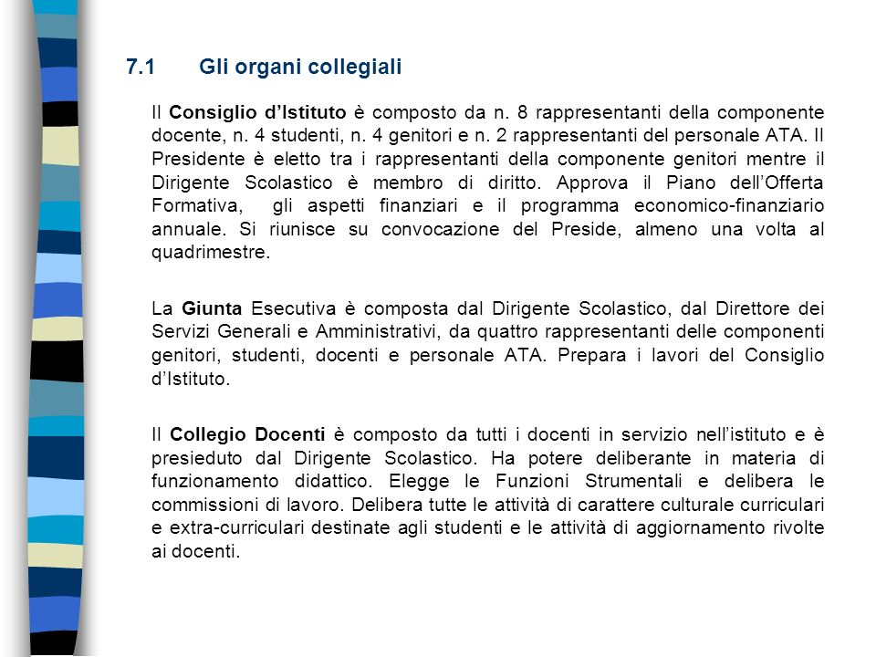 7.1 Gli organi collegiali