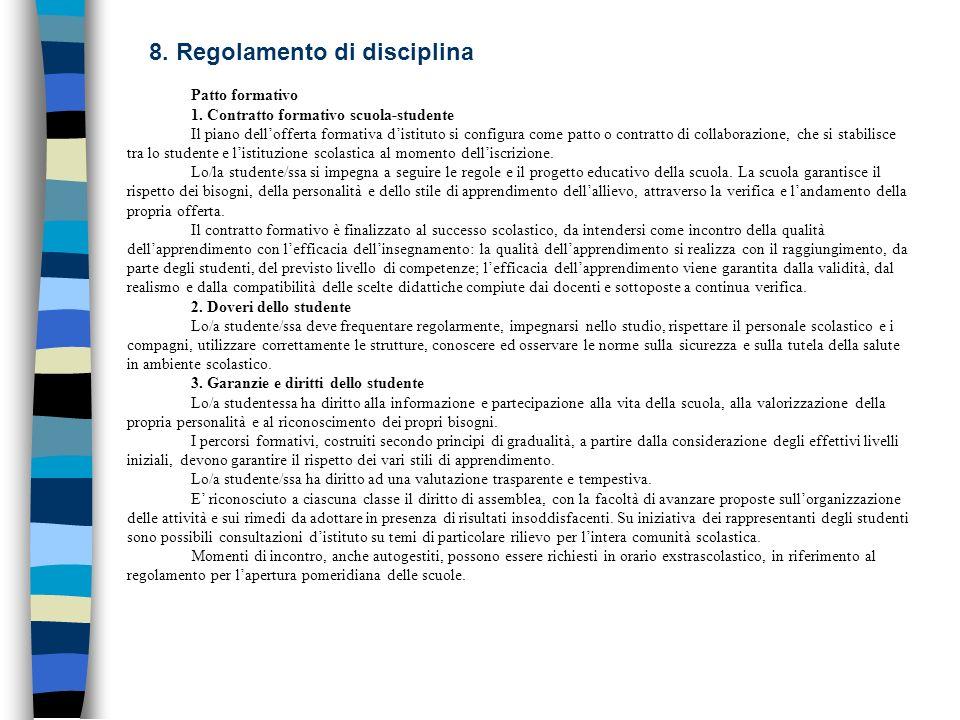 8. Regolamento di disciplina