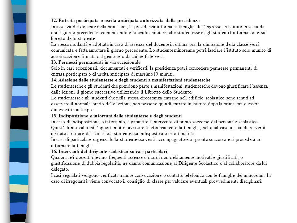 12. Entrata posticipata o uscita anticipata autorizzata dalla presidenza