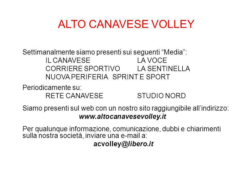 ALTO CANAVESE VOLLEY Settimanalmente siamo presenti sui seguenti Media : IL CANAVESE LA VOCE. CORRIERE SPORTIVO LA SENTINELLA.