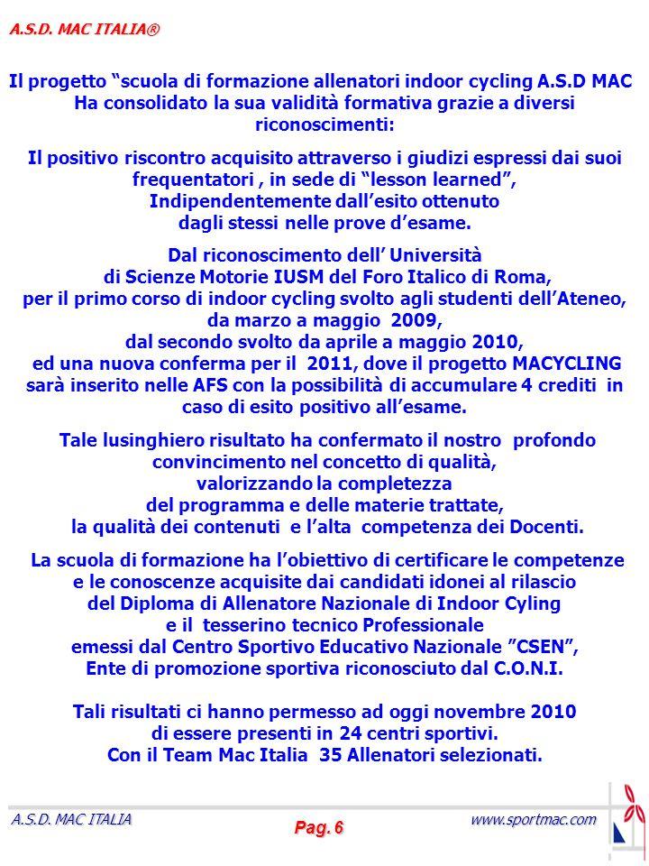 Il progetto scuola di formazione allenatori indoor cycling A.S.D MAC
