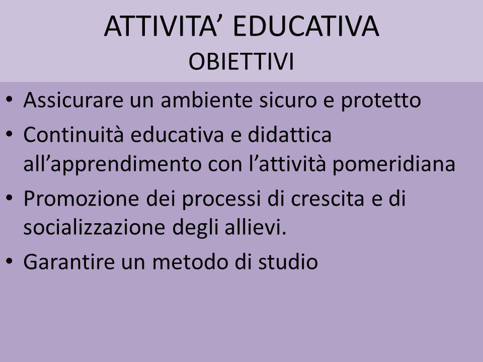 ATTIVITA' EDUCATIVA OBIETTIVI