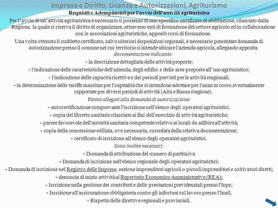 Impresa e Diritto, Licenze e Autorizzazioni, Agriturismo