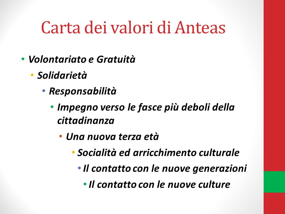 Carta dei valori di Anteas