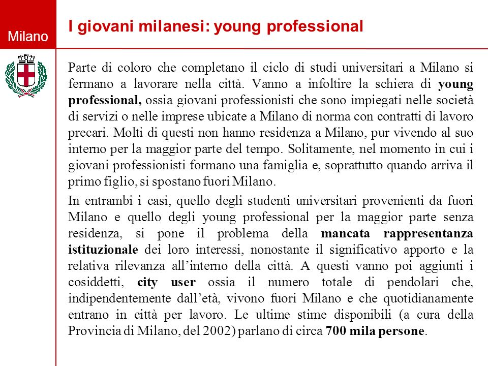 I giovani milanesi: young professional