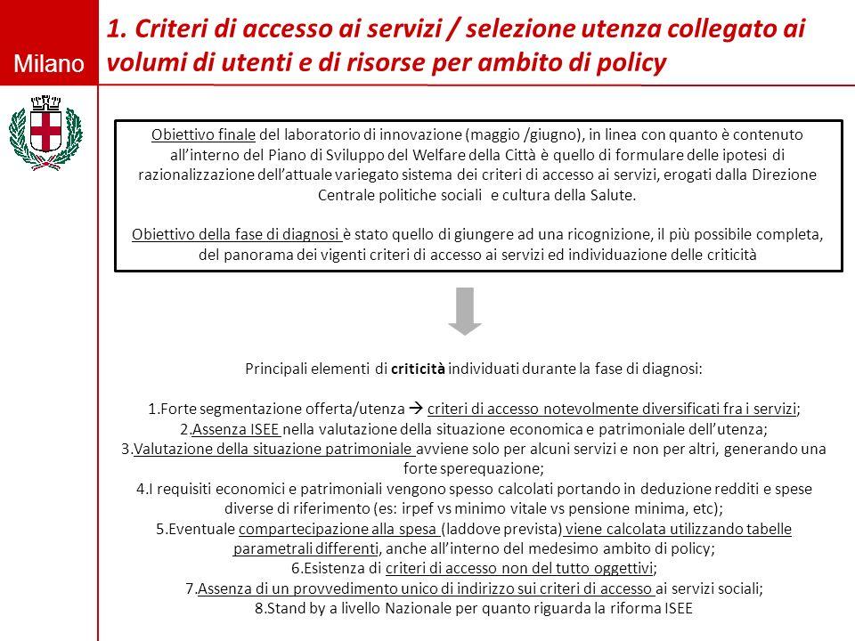 1. Criteri di accesso ai servizi / selezione utenza collegato ai volumi di utenti e di risorse per ambito di policy