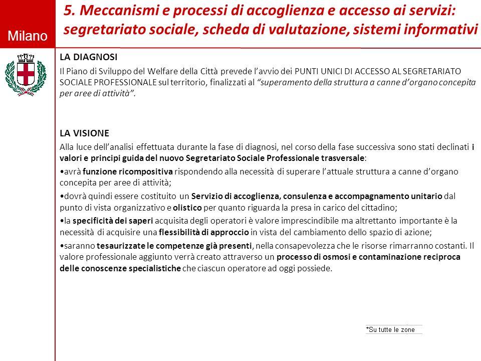 5. Meccanismi e processi di accoglienza e accesso ai servizi: segretariato sociale, scheda di valutazione, sistemi informativi