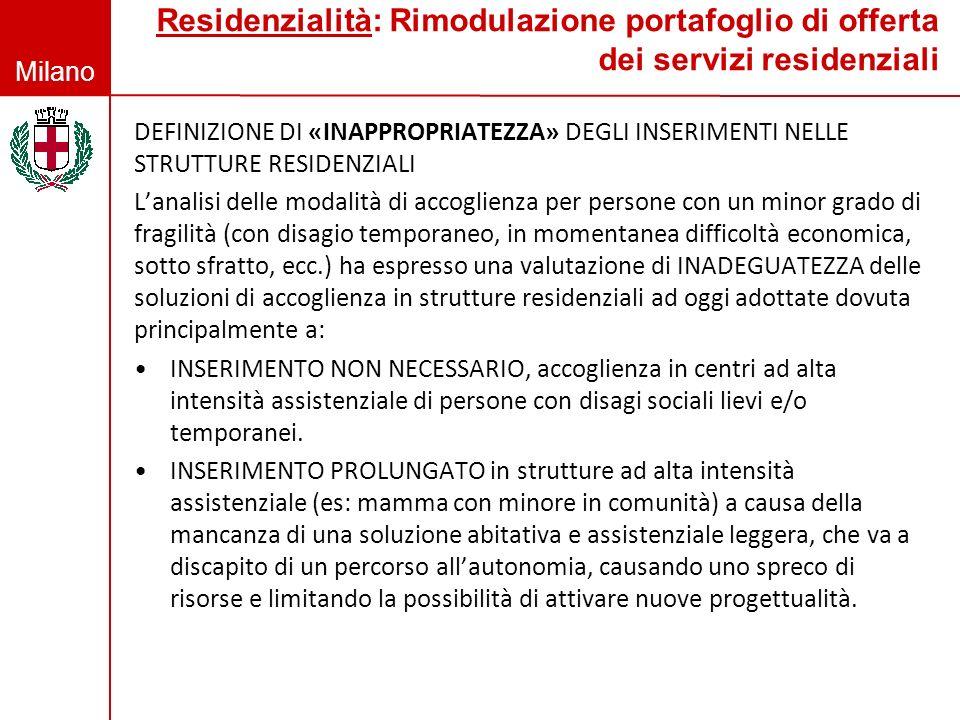 Residenzialità: Rimodulazione portafoglio di offerta dei servizi residenziali