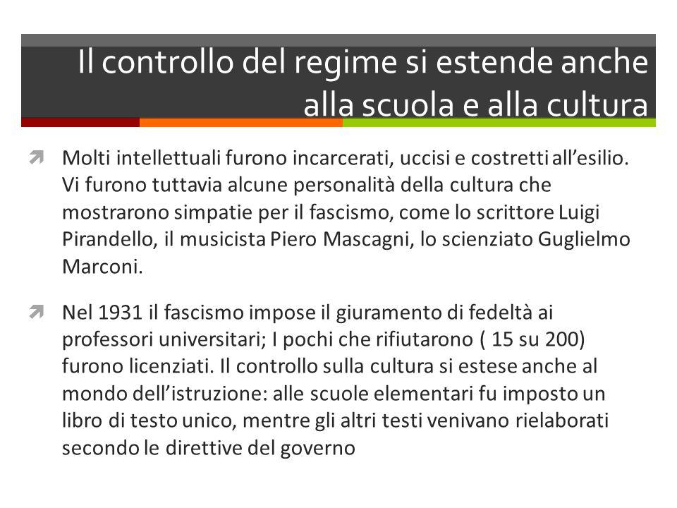 Il controllo del regime si estende anche alla scuola e alla cultura