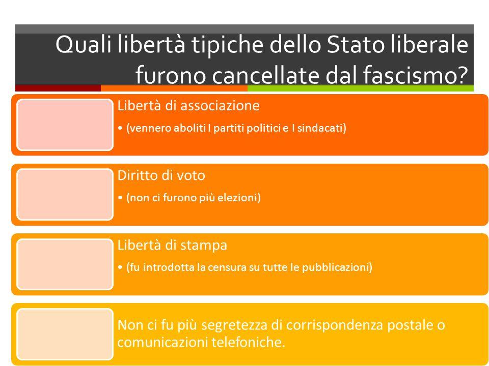 Quali libertà tipiche dello Stato liberale furono cancellate dal fascismo