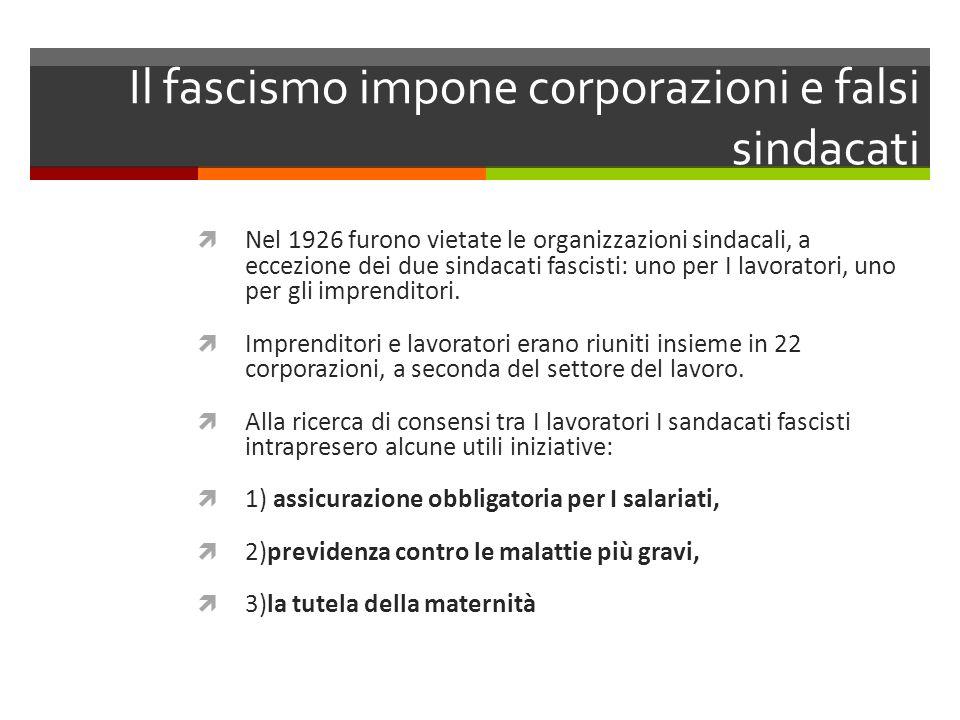 Il fascismo impone corporazioni e falsi sindacati