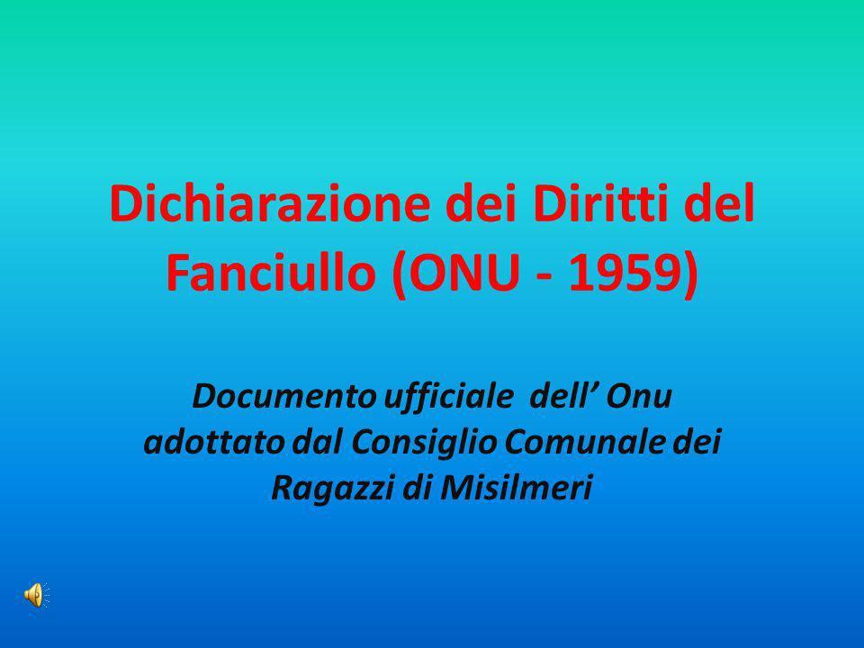 Dichiarazione dei Diritti del Fanciullo (ONU - 1959)