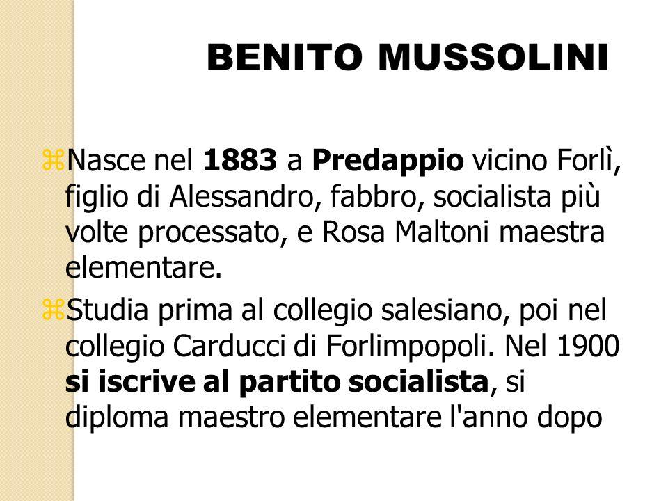 Nasce nel 1883 a Predappio vicino Forlì, figlio di Alessandro, fabbro, socialista più volte processato, e Rosa Maltoni maestra elementare.