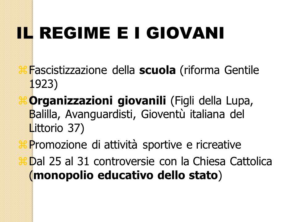 IL REGIME E I GIOVANI Fascistizzazione della scuola (riforma Gentile 1923)