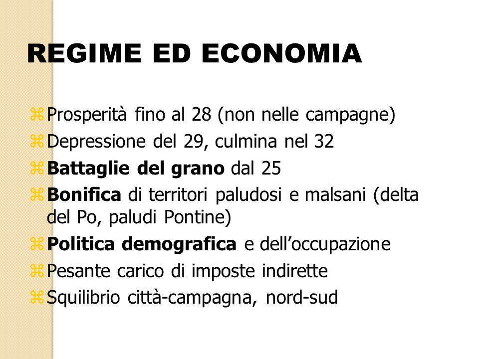 REGIME ED ECONOMIA Prosperità fino al 28 (non nelle campagne)