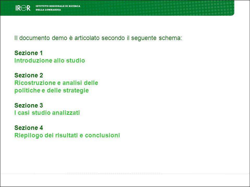 Il documento demo è articolato secondo il seguente schema: Sezione 1