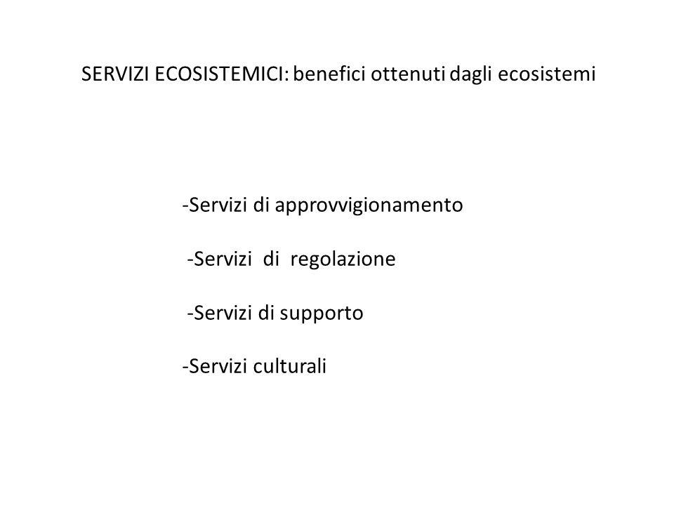SERVIZI ECOSISTEMICI: benefici ottenuti dagli ecosistemi