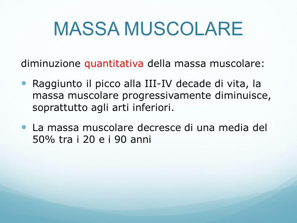 MASSA MUSCOLARE diminuzione quantitativa della massa muscolare: