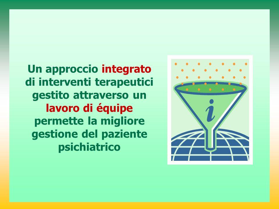 Un approccio integrato di interventi terapeutici gestito attraverso un lavoro di équipe permette la migliore gestione del paziente psichiatrico