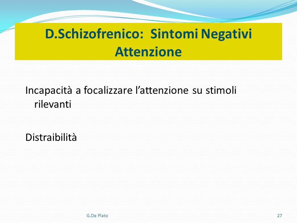 D.Schizofrenico: Sintomi Negativi Attenzione