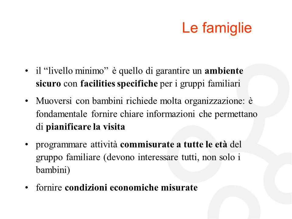 Le famiglie il livello minimo è quello di garantire un ambiente sicuro con facilities specifiche per i gruppi familiari.