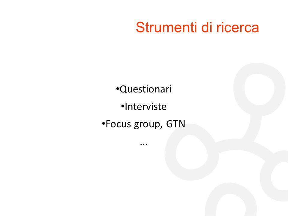 Strumenti di ricerca Questionari Interviste Focus group, GTN ... 60