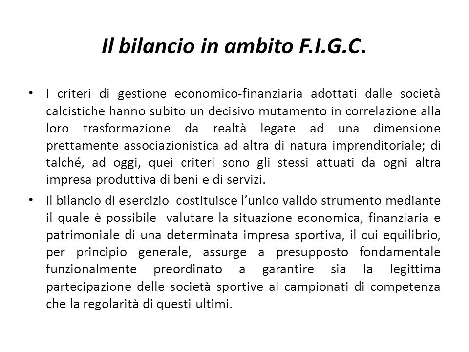 Il bilancio in ambito F.I.G.C.