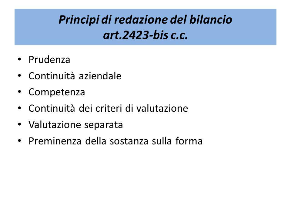Principi di redazione del bilancio art.2423-bis c.c.
