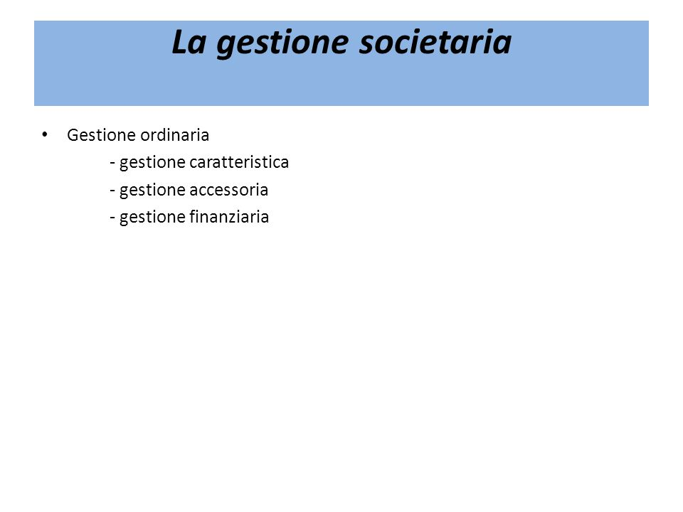 La gestione societaria