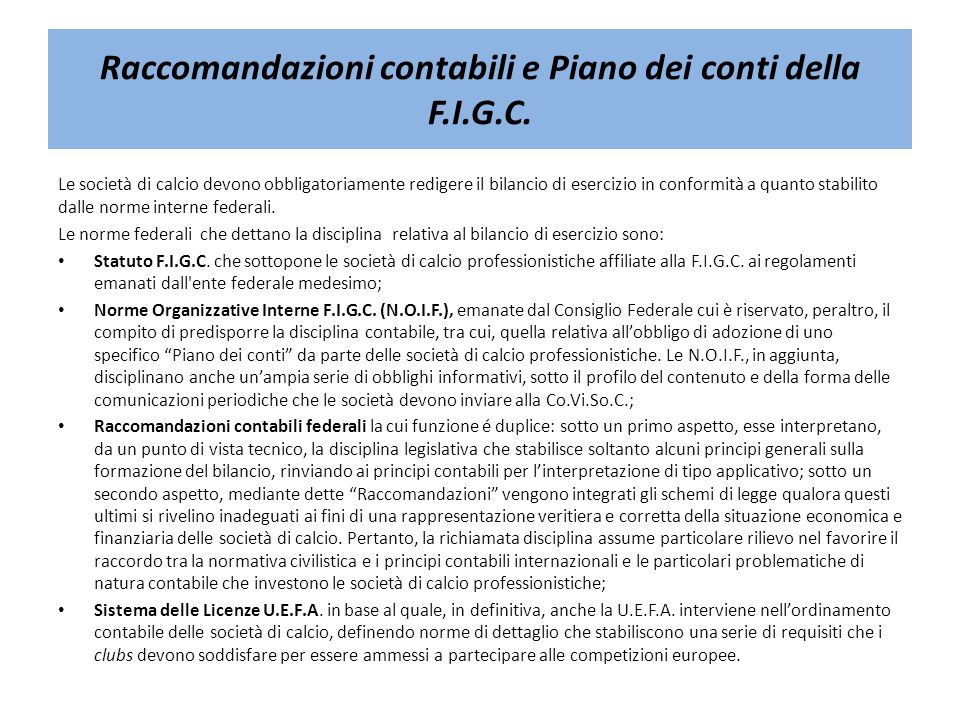 Raccomandazioni contabili e Piano dei conti della F.I.G.C.
