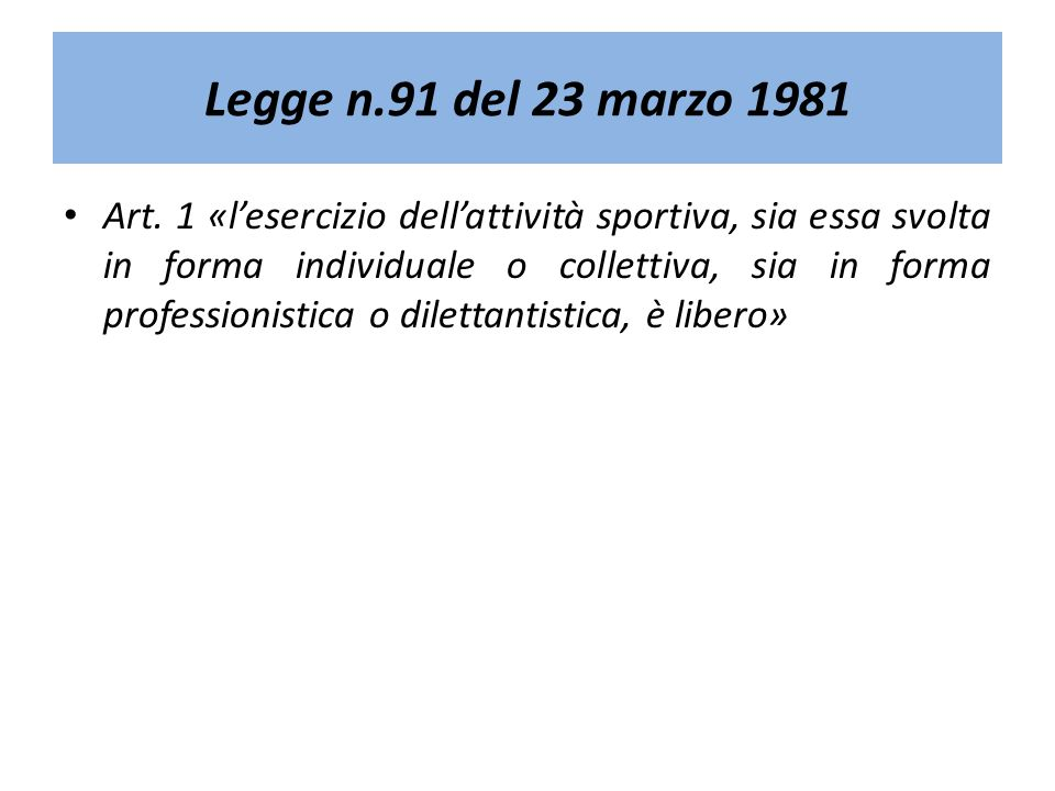 Legge n.91 del 23 marzo 1981