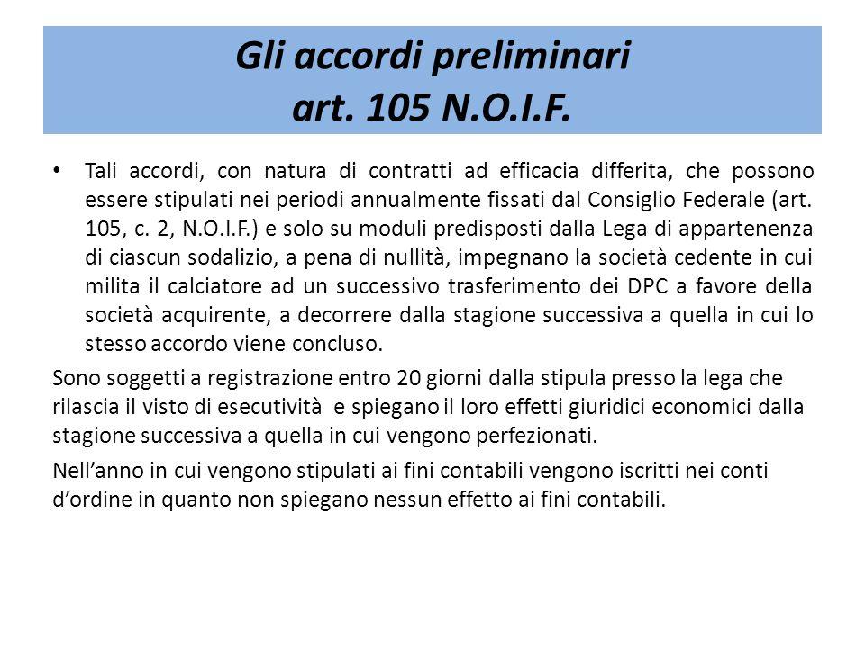 Gli accordi preliminari art. 105 N.O.I.F.