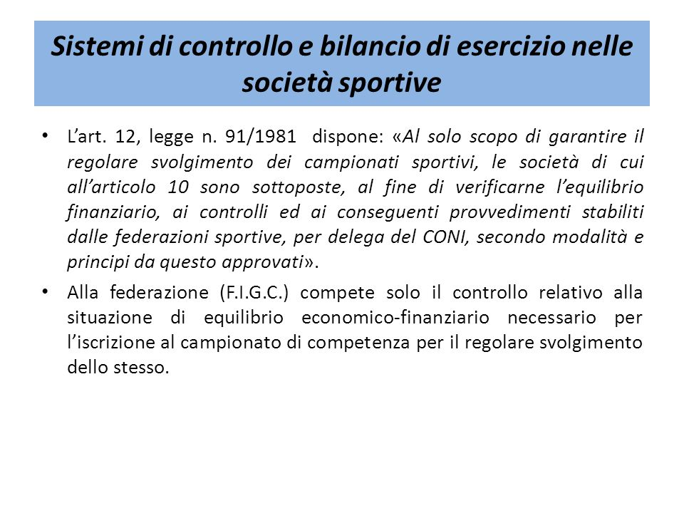 Sistemi di controllo e bilancio di esercizio nelle società sportive