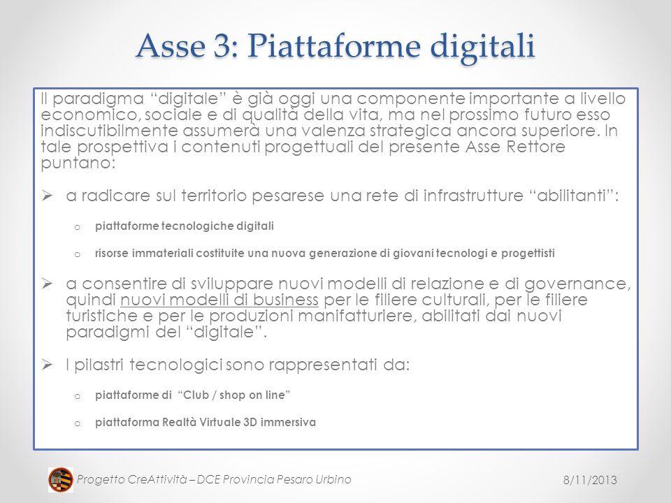 Asse 3: Piattaforme digitali