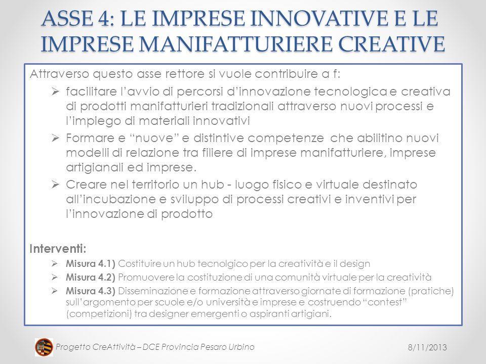 ASSE 4: LE IMPRESE INNOVATIVE E LE IMPRESE MANIFATTURIERE CREATIVE