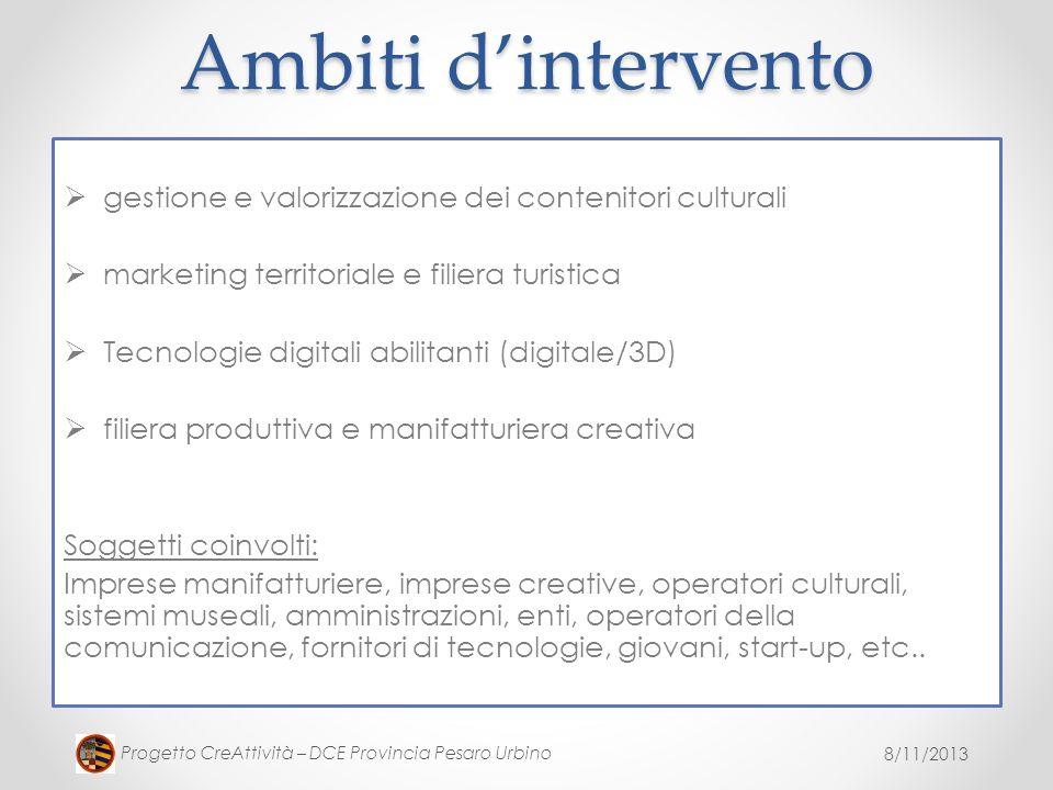 Ambiti d'intervento gestione e valorizzazione dei contenitori culturali. marketing territoriale e filiera turistica.