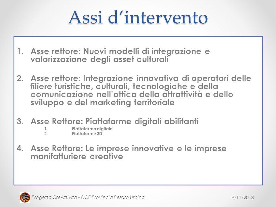 Assi d'intervento Asse rettore: Nuovi modelli di integrazione e valorizzazione degli asset culturali.