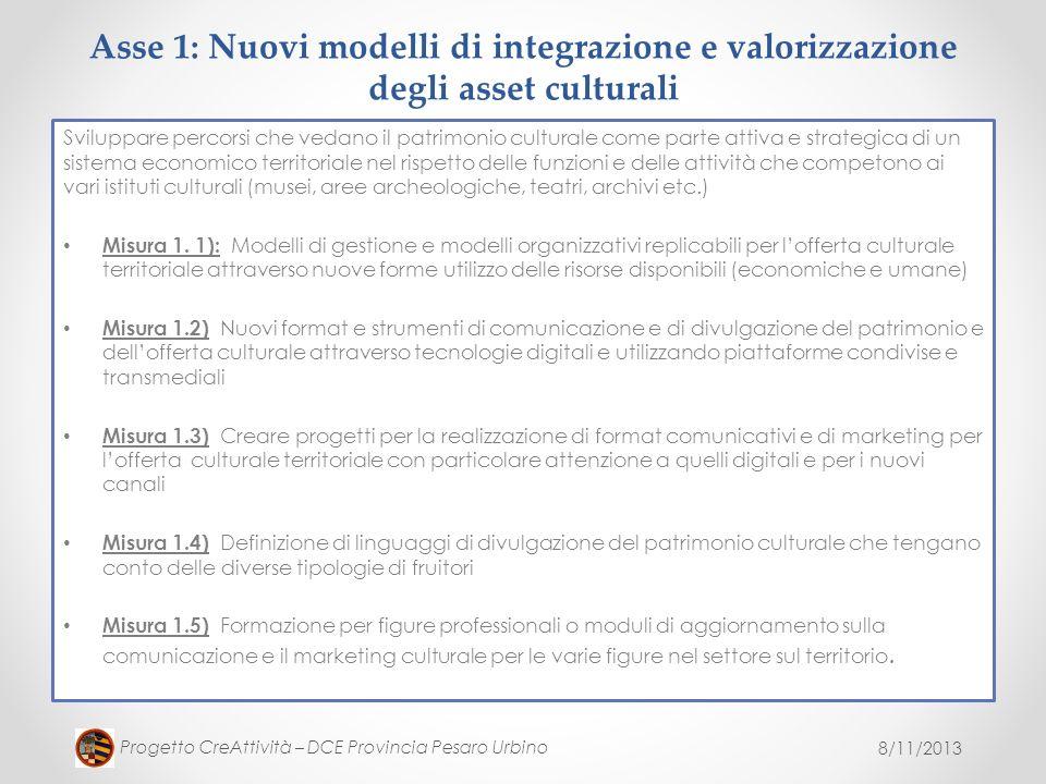 Asse 1: Nuovi modelli di integrazione e valorizzazione degli asset culturali