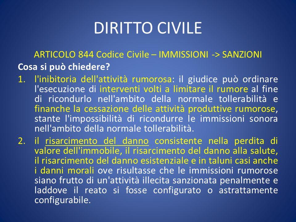 ARTICOLO 844 Codice Civile – IMMISSIONI -> SANZIONI