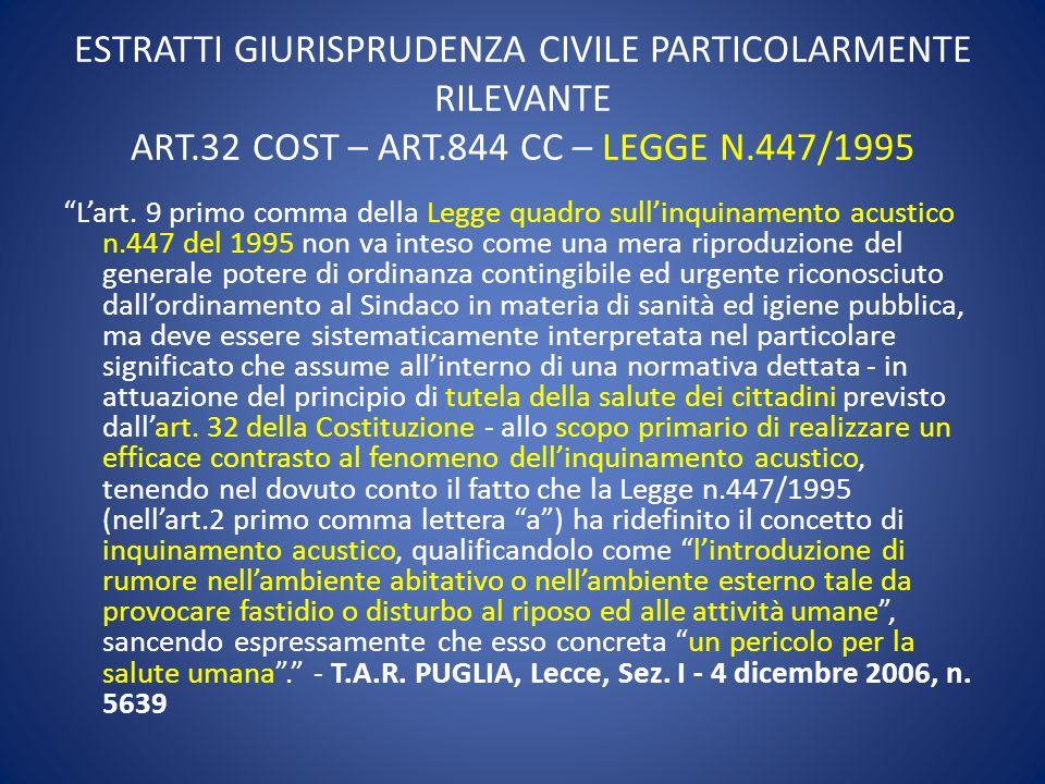 ESTRATTI GIURISPRUDENZA CIVILE PARTICOLARMENTE RILEVANTE ART