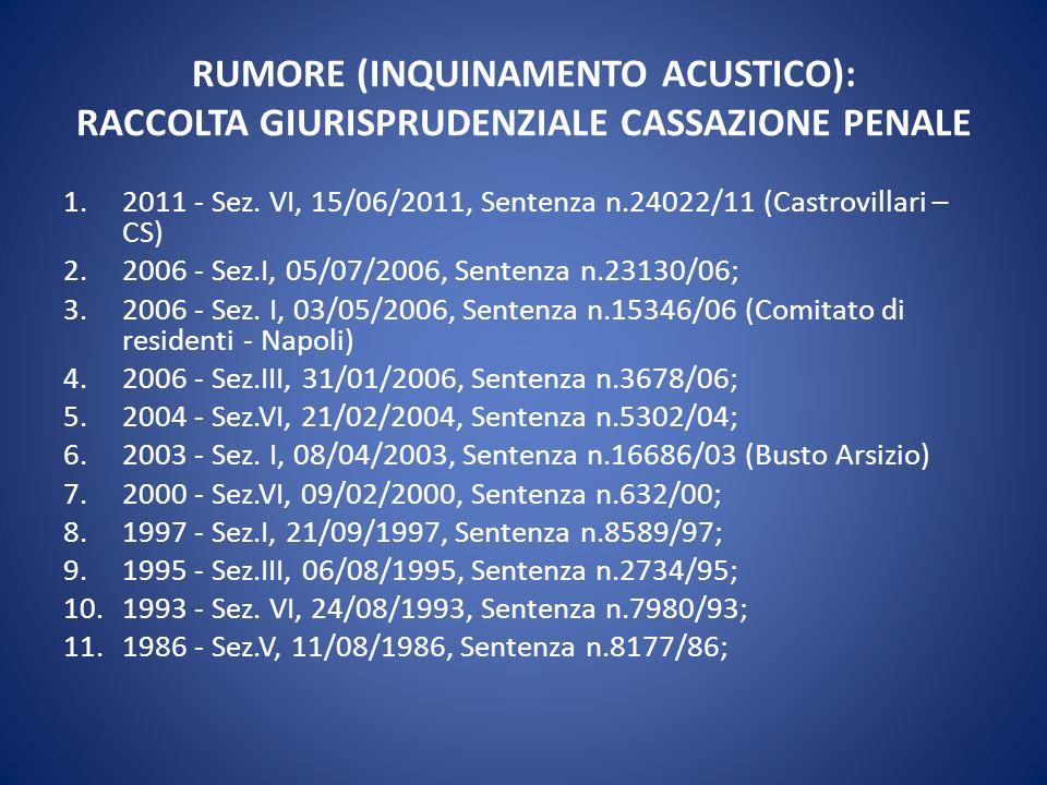 RUMORE (INQUINAMENTO ACUSTICO): RACCOLTA GIURISPRUDENZIALE CASSAZIONE PENALE