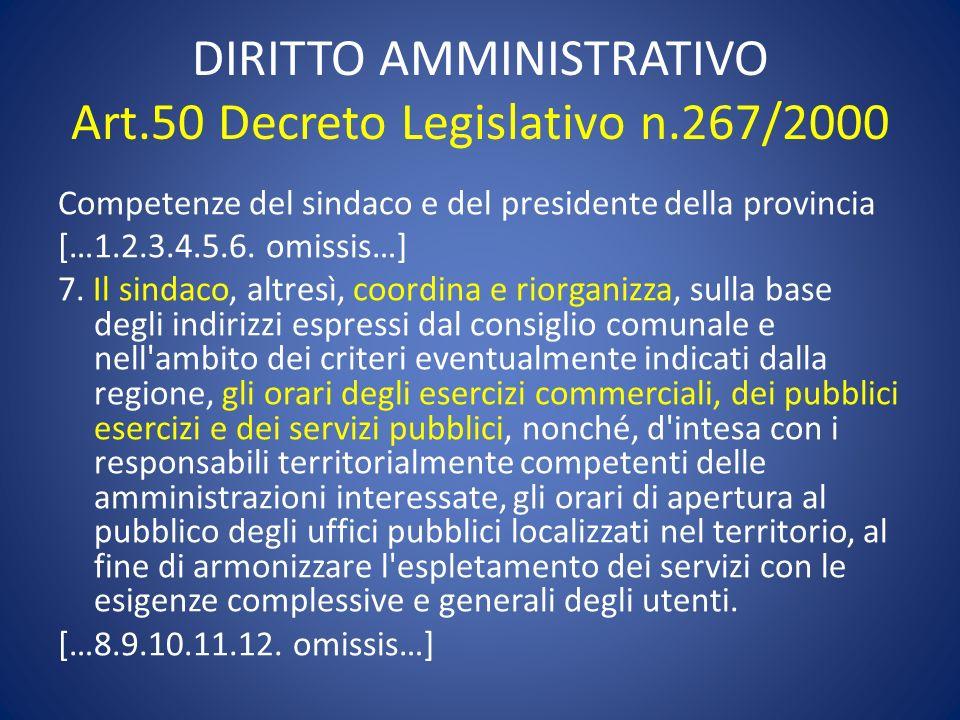 DIRITTO AMMINISTRATIVO Art.50 Decreto Legislativo n.267/2000
